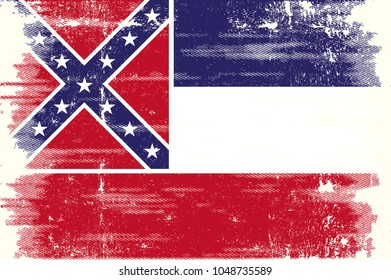 The flag of the state of Mississippi with a grunge texture