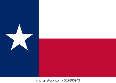 The flag of the state of Texas. The Lone Star Flag. Proportion 2:3