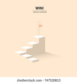 A Flag Of Success On The Top Of Stairs With Congratulation Colorful Flakes.  Business Concept
