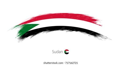 Flag of Sudan in rounded grunge brush stroke. Vector illustration.