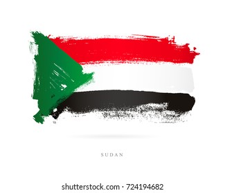 The flag of Sudan. Vector illustration on white background. Beautiful brush strokes. Abstract concept. Elements for design.