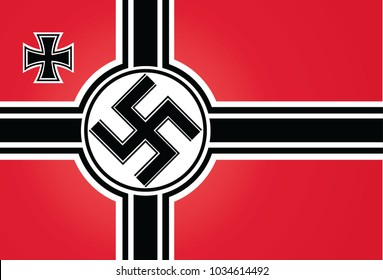 The flag and the Supreme Commander of the armed forces of Nazi Germany. The illustration on a white background.