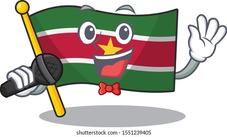 flag suriname isolated in the mascot singing