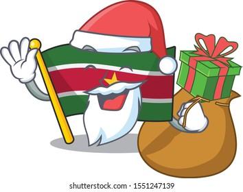 flag suriname mascot on a pole santa bring gift