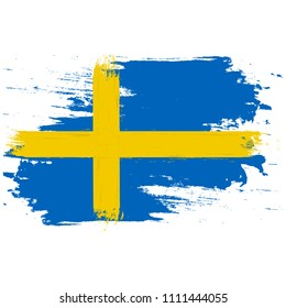 Flag of Sweden. Brush painted Flag of Sweden. Hand drawn style illustration with a grunge effect and watercolor. Flag of Sweden with grunge texture. Vector illustration.