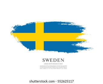 Flag of Sweden, brush stroke background