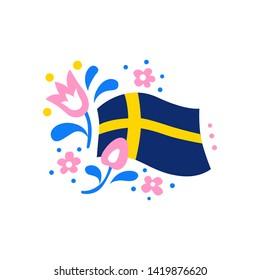 The flag of Sweden with floral design elements. Vector illustration EPS 10.