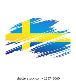 Flag Sweden in the form traces brush isolated vector