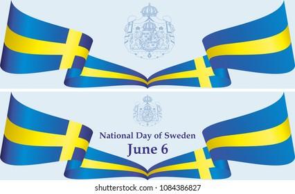 Flag of Sweden, June 6, National Day of Sweden, Kingdom of Sweden. Bright, colorful vector illustration