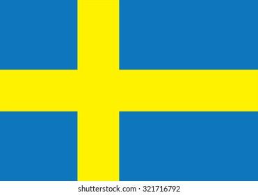 Flag of Sweden, national country symbol illustration. Vector illustration of Swedish flag