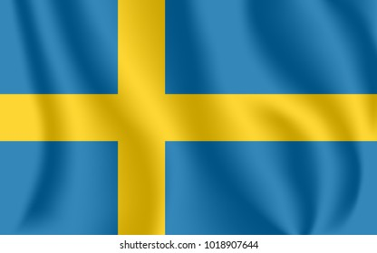 Flag of Sweden. Realistic waving flag of Kingdom of Sweden. Fabric textured flowing flag of Sweden.