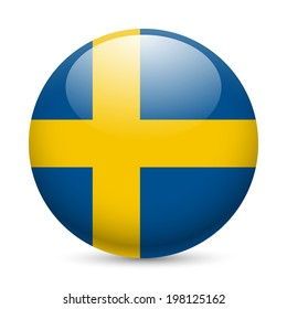 Flag of Sweden as round glossy icon. Button with Swedish flag