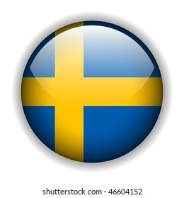 Flag of Sweden, swedish flag glossy button, vector