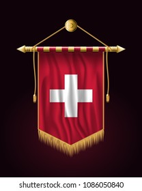 Flag of Switzerland. Festive Vertical Banner. Wall Hangings with Gold Tassel Fringing
