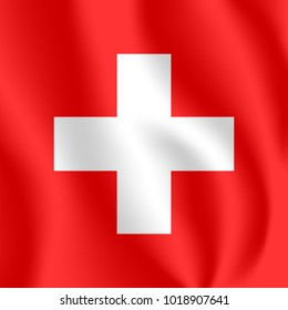 Flag of Switzerland. Realistic waving flag of Swiss Confederation. Fabric textured flowing flag of Switzerland.