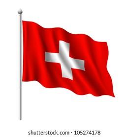 Flag of Switzerland, vector illustration