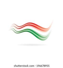 Flag swoosh read white green image. Vector icon
