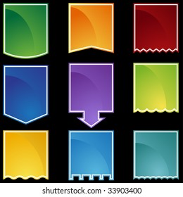 Flag tag icon set color