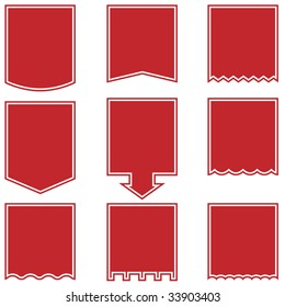 Flag tag icon set red