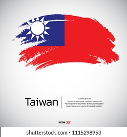 Flag of Taiwan with brush stroke, grunge style background vector.