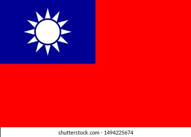 Flag of Taiwan officially flag of the Republic of China is a state in East Asia, a vector illustration.
