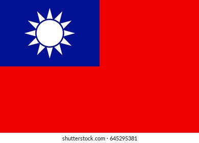 Flag of Taiwan - officially is territory of the Republic of China. Patriotic taiwanese national sign. Symbol of East Asia state. Vector icon illustration