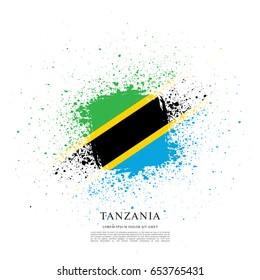 Flag of Tanzania, brush stroke background