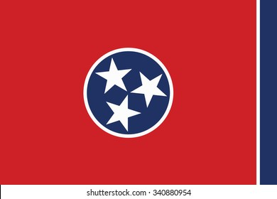 Flag of Tennessee state of the United States. Vector illustration.