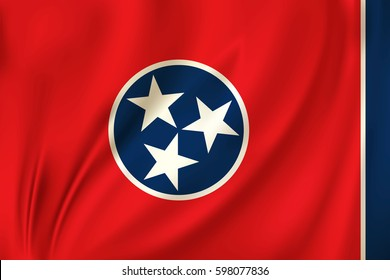 Flag of Tennessee state of the United States. Vector illustration. Waving in the wind on silk background