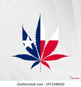 Flag of Texas in Marijuana leaf shape. The concept of legalization Cannabis in Texas. Medical cannabis illustration.