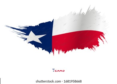 Flag of Texas state in grunge style with waving effect, vector grunge brush stroke flag.