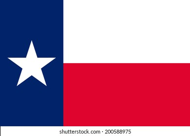 Flag of Texas. Vector illustration. The color and size of the original.