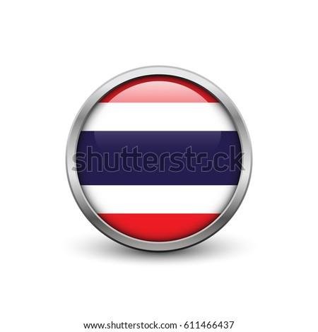 Flag Thailand Button Metal Frame Shadow Stock Vector (Royalty Free ...