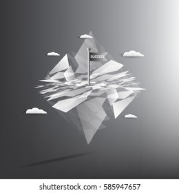 a flag that succeed on mountain top abstract white and gray color technology modern futuristic background, vector illustration