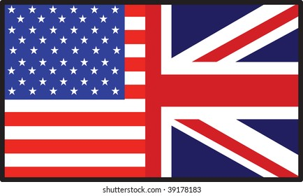 A flag that's half American and half  British