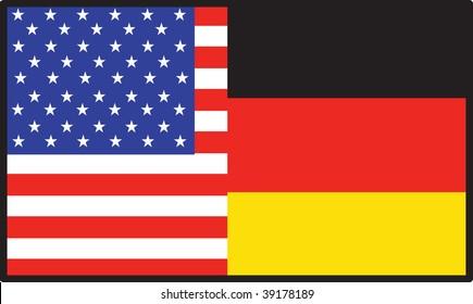 A flag that's half American and half German