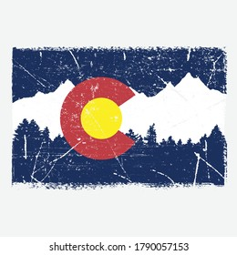 A flag theme of Colorado with a grunge texture.