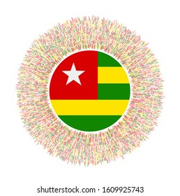 Flag of Togo with colorful rays. Radiant country sign. Shiny sunburst with Togo flag. Cool vector illustration.