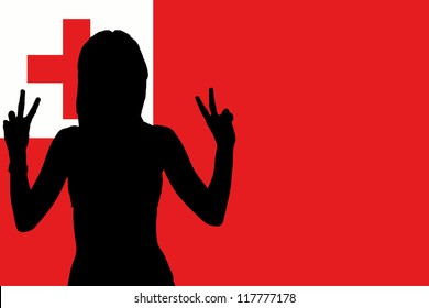 The flag of Tonga with the silhouette of a woman with peace signs