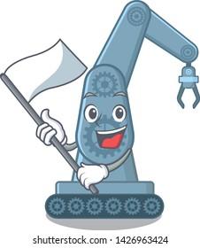 With flag toy mechatronic robot arm cartoon shape
