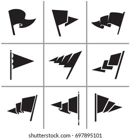 Flag triangle icon and signs set vector illustration