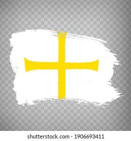 Flag Trondelag County  brush strokes. Flag of Trondelag County on transparent background for your web site design, app, UI. Norway. EPS10