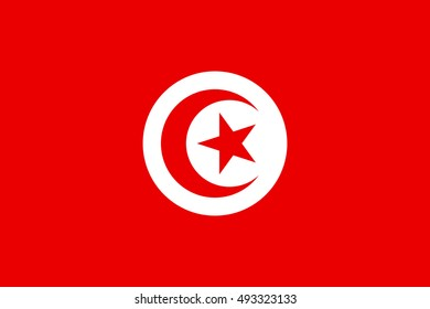Flag of Tunisia in correct size, proportions and colors. Accurate official standard dimensions. Tunisian national flag. African patriotic symbol, banner, element, background. Vector illustration