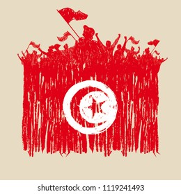 Flag of Tunisia,  fans of silhouette, hand point, vector