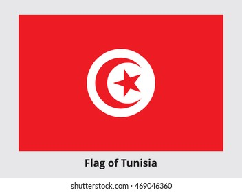 Flag of Tunisia. Rectangular banner with crescent surrounding five-pointed star in the center. Proper colors and proportions. Vector eps8 illustration.