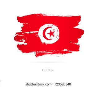 Flag of Tunisia. Vector illustration on white background. Beautiful brush strokes. Abstract concept. Elements for design.