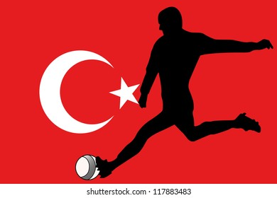 The flag of Turkey with a football player