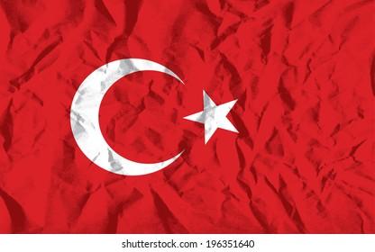 Flag of Turkey on wrinkled paper vector illustration.