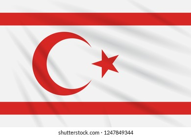 Flag of Turkish Republic of Northern Cyprus swaying in wind, realistic vector