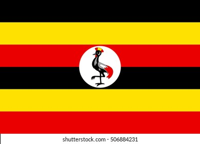 Flag of Uganda in correct size, proportions and colors. Accurate official standard dimensions. Ugandan national flag. African patriotic symbol, banner, element, background. Vector illustration